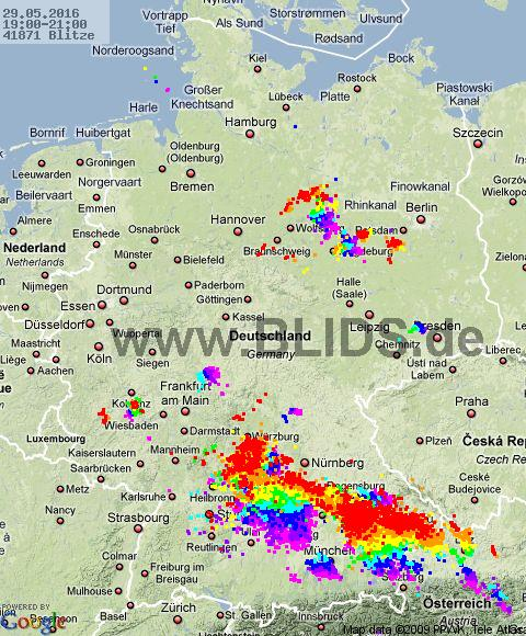 Lightning Germany 19:00 UTC Sun 29 May